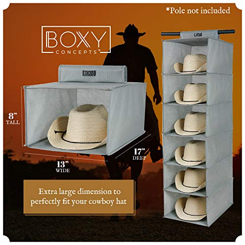 Boxy Concepts Cowboy Hat Rack for Closets (6 Shelves) - Closet Hanging Woven Fabric Cowboy Hat Holder for Large Brimmed Hats - Hat Organizer to Keep Hats Tidily Safely Stored - Western Hat Rack