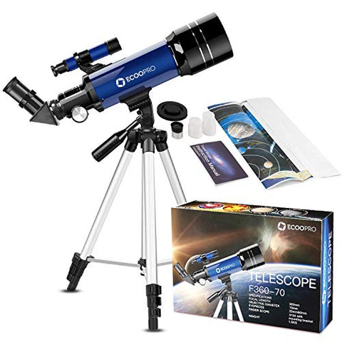 Telescope for Kids Beginners Adults, 70mm Astronomy Refractor Telescope with Adjustable Tripod - Perfect Telescope Gift for Kids