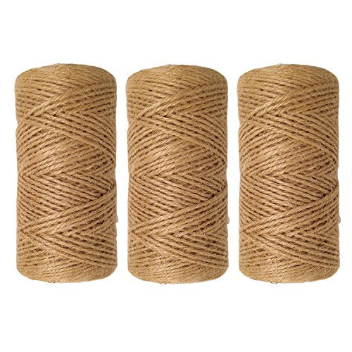1000 Feet (c. 333 Yards) 2mm 3 ply Natural Jute Twine String Rolls for Artworks and Crafts, Gift Wrapping, Picture Display and Gardening (2mm)