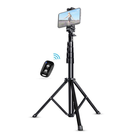 "Selfie Stick Tripod, FanBell 51"" Extendable Tripod Stand with Bluetooth Remote for iPhone & Android Phone, Heavy Duty Aluminum, Lightweight"
