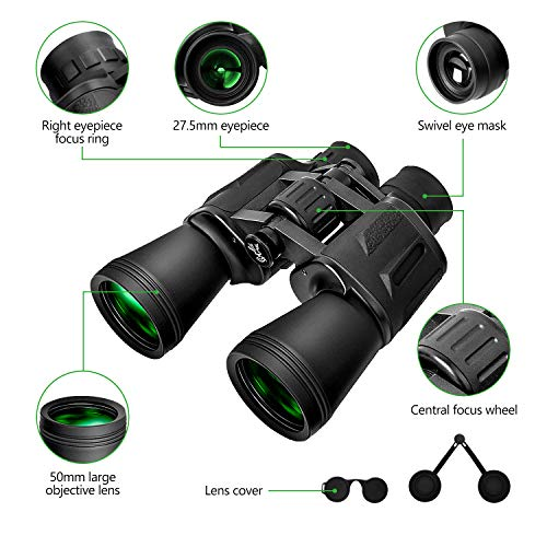 Binoculars Adults 10 x 50 High Powered HD Waterproof Zoom Powerful Clear Durable BAK-4 Prism FMC Lens Bird Watching Travel Hunting Concerts Football