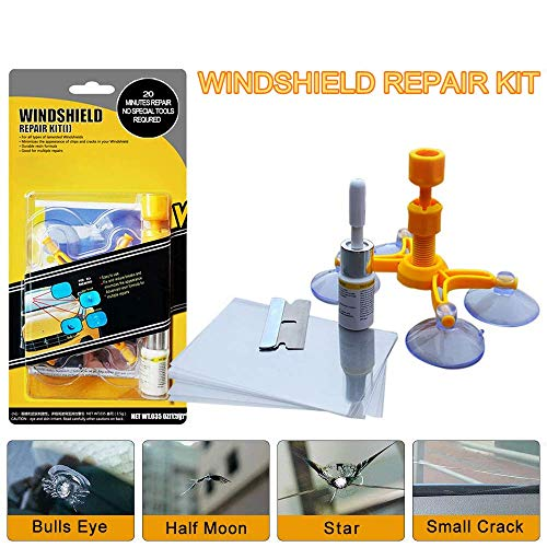 Windshield Chip Repair Kit DIY Car Windshield Glass Repair Tool for Repair Windshield Crack Half Moon Crescents, Star Chips and Bulls Eye