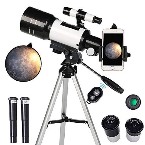 Telescope for Kids Beginners 70mm Aperture 300mm Astronomical Refractor Tripod Finder Scope Portable Travel with Smartphone Adapter Wireless Remote
