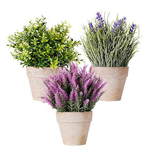 NEW RUICHENG Artificial Plant, Plants Artificial Mini Potted Plant Fake Lavender Flowers Plastic Plant in Pot 3 Pack Set Small Potted Artificial Plant Real Green Bonsai for Home Bathroom Balcony Decor