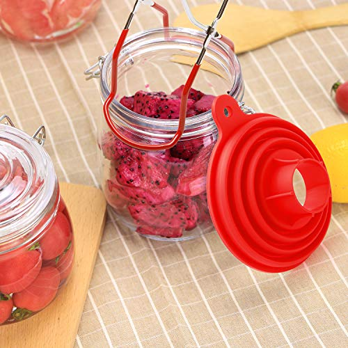 Canning Jar Lifter with Grip Handles 3 Size Silicone Collapsible Funnel Red Foldable Canning Jar Funnel Compatible Wide Mouth Regular Jars for Home