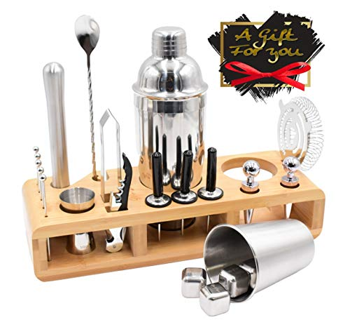 Cocktail Shaker Set with Bartending Accessories 30 Pc. Kit, Muddler, Strainer Pourer Corkscrew Bottle Stopper Ice Cubes Freezer Tray Bamboo Stand