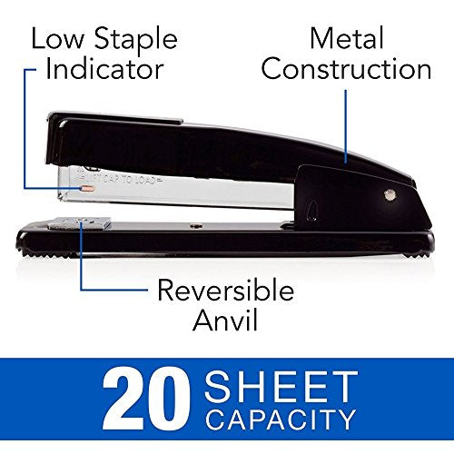 Stapler Commercial Desktop Staplers 20 Sheet Capacity Portable Durable Metal Desktop Stapler for Home Office Supplies Classroom or Desktop Accessories
