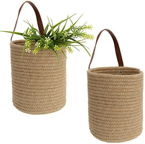 LAWEI Set of 2 Wall Hanging Storage Basket - Jute Woven Basket with Leather Handle Hanging Pocket Planter Baskets for Flower Plants Towels Toys