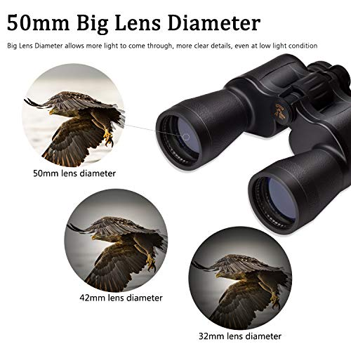 Binoculars 20x50 HD Professional Waterproof with Low Light Night Vision Durable Clear BAK4 Prism FMC Lens Suitable for Concert Bird Watching Sports