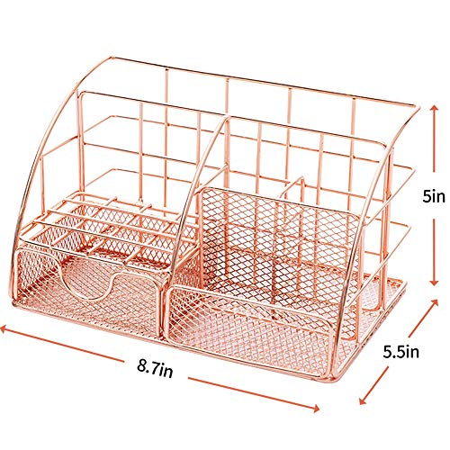 Rose Gold Desk Organizer for Women, Mesh Office Supplies Desk Accessories, Features 5 Compartments + 1 Mini Sliding Drawer