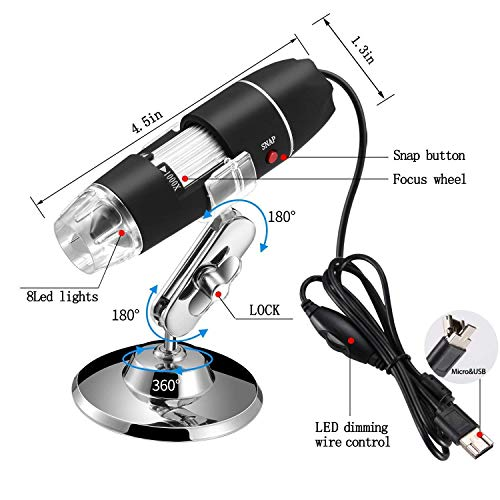 40 to 1000x Magnification Endoscope 8 LED USB Digital Microscope Mini Camera OTG Adapter Metal Stand Compatible with Mac Window 7 8 10 Android Linux