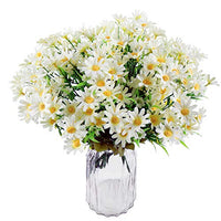 U/N Silk Daisy Artificial Wildflowers Greenery Shrubs Plants 6 Bouquets Faux Gerber Daisy Flowers for Home Outside Farmhouse Garden Decoration (White)