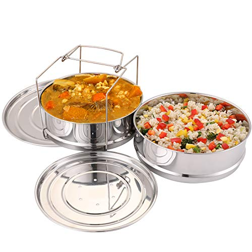 Stackable Steamer Insert Pans with Sling Instant Pot Accessories 6/8 qt Pot Baking Casseroles Lasagna Food Pressure Cooker Interchangeable Lids