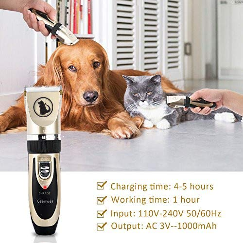 Dog Clippers Low Noise Pet Clippers Rechargeable Trimmer Cordless Pet Grooming Tool Professional Hair Trimmer with Comb Guides Scissors Nail Kits Cats