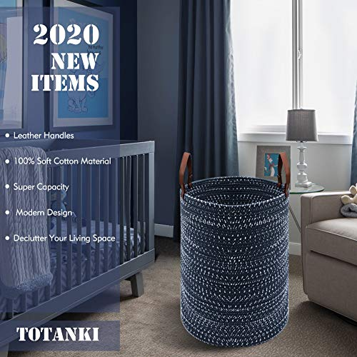 TOTANKI X-Large Laundry Storage Basket - 15.7 Inches(D) x 19.7 Inches(H) - Collapsible Cotton Rope Woven Basket with Leather Handles for Storing Clothing, Diapers, Toys