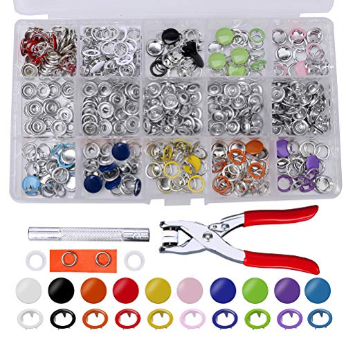 100 Set Snap Fasteners Kit Tool Hollow Solid Metal Snap Buttons Setting 9.5 mm 10 mm Leather Press Studs 10 Colors for Children's Bodysuit Clothing