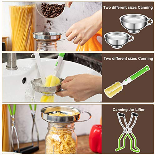 4 Pieces Stainless Steel Canning Funnel Canning Jar Lifter with Grip Handle and Sponge Cleaning Brush for Wide and Regular Jars