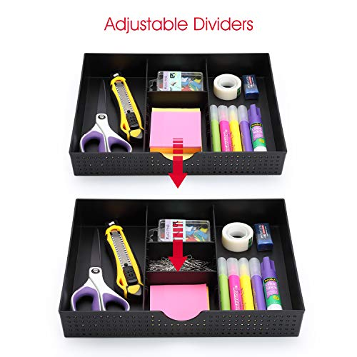 3 Slot Drawer Organizer with Two Adjustable Dividers - Junk Drawer Storage for Office Desk Supplies and Accessories, Black (1 Pack)