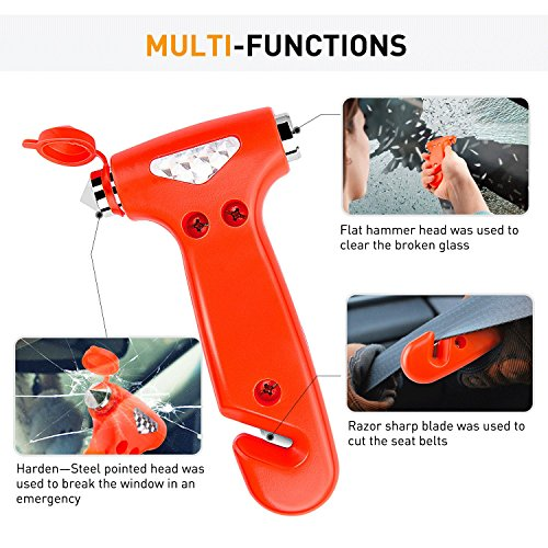 Seatbelt Cutter Auto Window Breaker Emergency Rescue Escape Tool Car Safety Hammer, 2 Pack