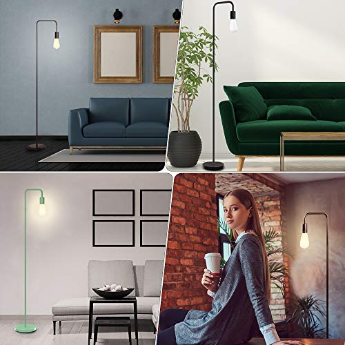 Industrial Floor Lamp - Floor Lamp with Eye Caring LED, Bulb Included, Led Floor Lamps for Bedroom, Floor Lamps for Living Room, in-Line On/Off Foot Switch,Matte Black