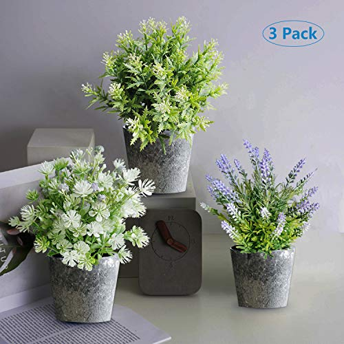 Wsorhui 3 Pcs Set Artificial Potted Plants Flowers with Pot Potted Artificial Eucalyptus Plants Plastic Fake Green Plant for Table Home Office Decor Houseplants Update 2