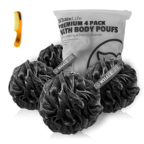 Shower Puff 4 Pack Black Bath Sponge Shower Loofahs Pouf Ball Nature Bamboo Charcoal Mesh Bulk Puffs Large, Shower Essential Skin Care