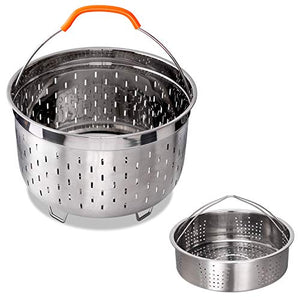 Stainless Steel Steamer Basket Compatible with Instant Pot Accessories 6QT 8QT Steam Insert Including Handles and Feet, 6quart 8quart, silver