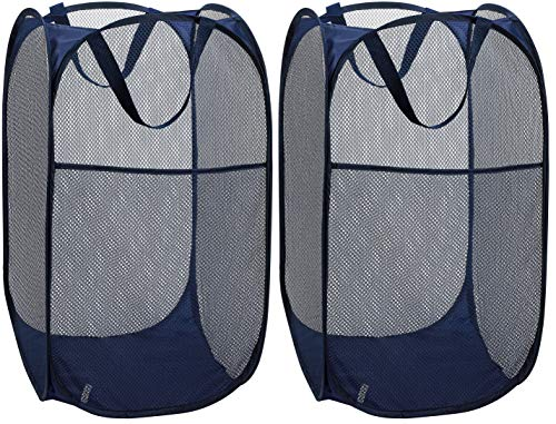Mesh Popup Laundry Hamper Portable Durable Handles Collapsible Storage Easy Open Folding Clothes Hampers Great for The Kids Room College Dorm Travel