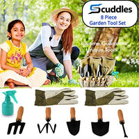 Garden Tools Set 8 Piece Heavy Duty Gardening Kit with Storage Organizer Ergonomic Hand Digging Weeder Rake Shovel Trowel Sprayer Gloves Gift