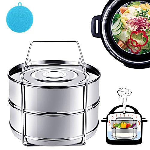 Instant Pot Accessories, Steamer Insert Pans for 6qt/8qt Pressure Cooker, Stackable Stainless Steel Vegetable Steamer with Sling