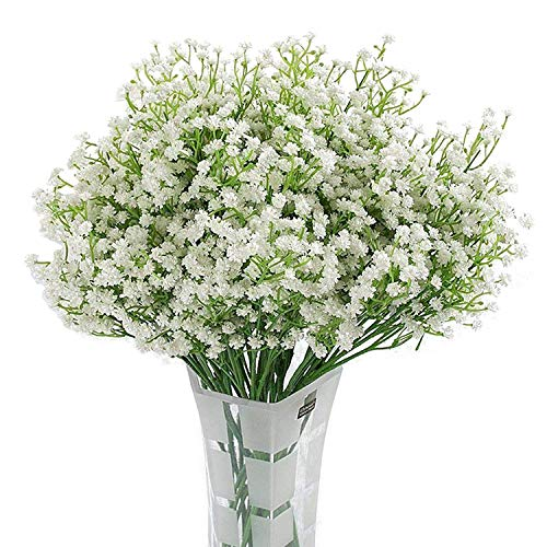 Homcomoda Artificial Flowers Babies Breath Flowers Fake Gypsophila Plants Bouquets for Wedding Home DIY Decoration (A-White, 12PC)