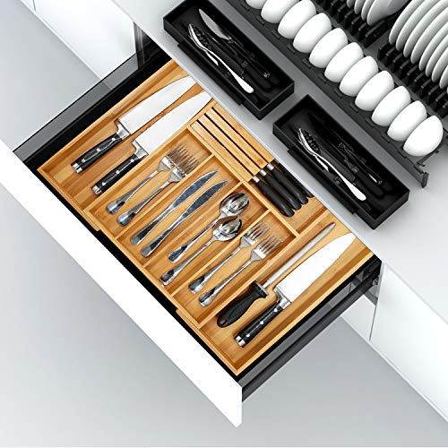 "Bamboo Utensil Organizer Drawer Kitchen Expandable Cutlery Tray with Divider 13""-21.6"" Flatware Storage Removable Knife Block Wooden Organizer"