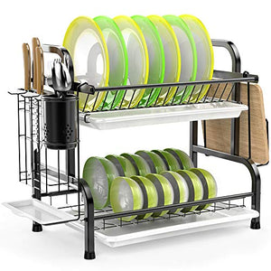 Dish Drying Rack, 304 Stainless Steel 2-Tier Dish Rack with Utensil Holder, Cutting Board Holder and Dish Drainer for Kitchen Counter