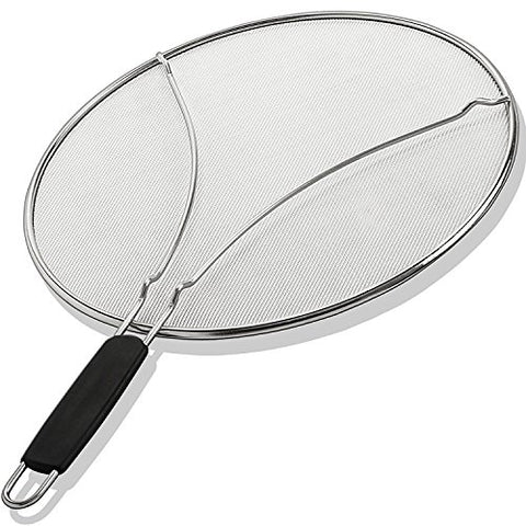 "Grease Splatter Screen for Frying Pan 13"" Stops 99% Hot Oil Splash Protects Skin from Burns Splatter Guard Cooking Iron Skillet Lid Stainless Steel"