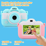 Kids Camera for Girls Gifts, Mini Cartoon Shockproof Silicone Case Rechargeable Child Camcorder Aged 3-12