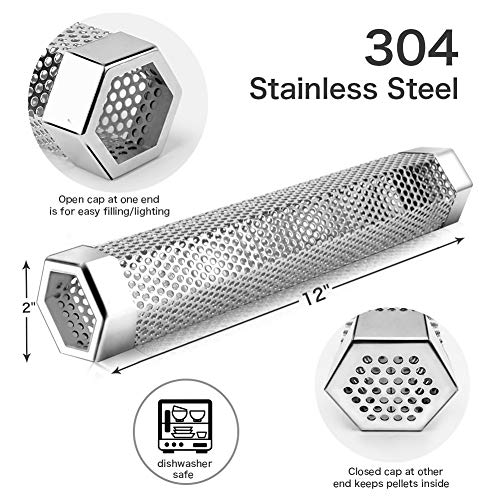 Pellet Smoker Tube Stainless Steel BBQ Wood Cold/Hot Smoking Portable Barbecue Smoke Generator Electric Gas Charcoal Grill Smokers Bonus Brush Hexagon