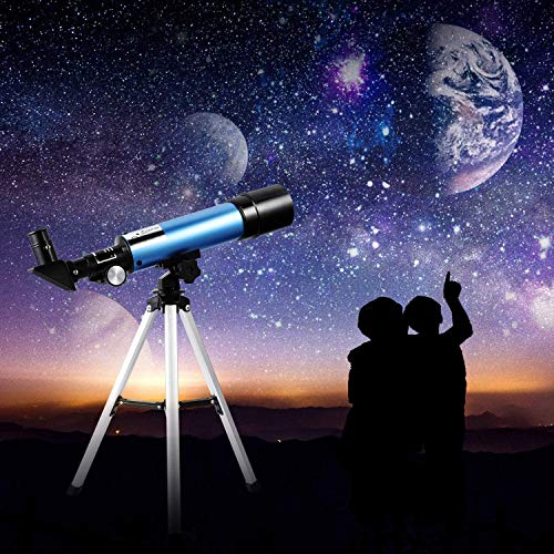 Beginners Kids First Telescope Portable Refractor Telescope 90x Magnification Tabletop Tripod Two Eyepieces to Explore Moon Space View Wildlife