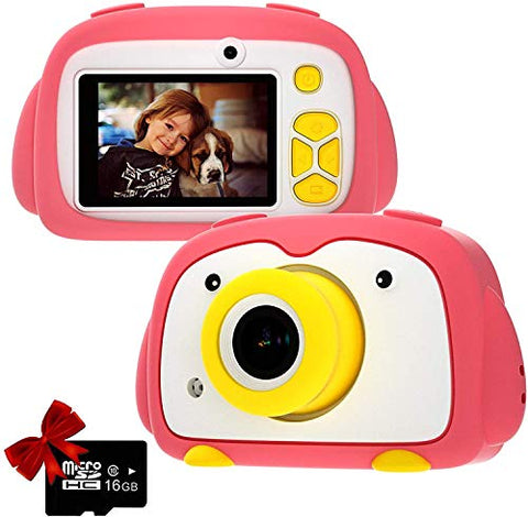 Kids Camera WiFi Digital Cam for Girls Rechargeable Video Recorder Cartoon Shockproof 24MP HD 720P 2 Inch Screen for 3-12 Year Old Boys Toddler