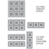 "Gallery Wall Kit Square Photos with Hanging Template Picture Frame Set, 8"" x 8"", Black, 9 Piece"