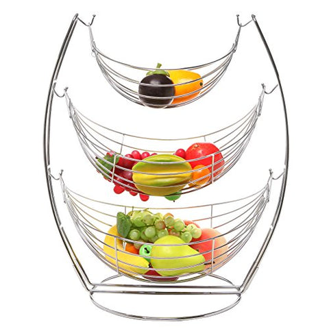 Large 20.5-Inch Tall Chrome Triple Hammock Fruit/Vegetables/Produce Metal Basket Rack Display Stand