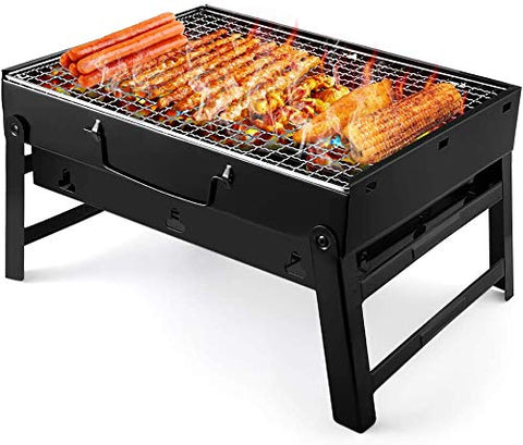 Charcoal Grill Barbecue Portable BBQ Stainless Steel Folding Grill Tabletop Outdoor Smoker Picnic Garden Terrace Camping Travel 15.35''x11.41''x2.95''