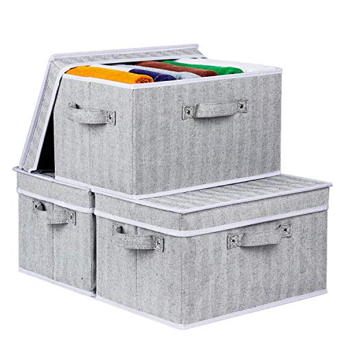 Zilink Storage Bins for Shelf Decorative Storage Boxes with lids Stack-able Storage Baskets for Closet with Handles for Home Office Storage, Grey, Set of 3