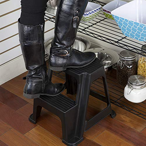 2-Stair Step Stool, Holds Up to 250 Lbs – Sturdy, Lightweight, Skid Resistance Rubber, Safe step stool for Adults and Kids, Black