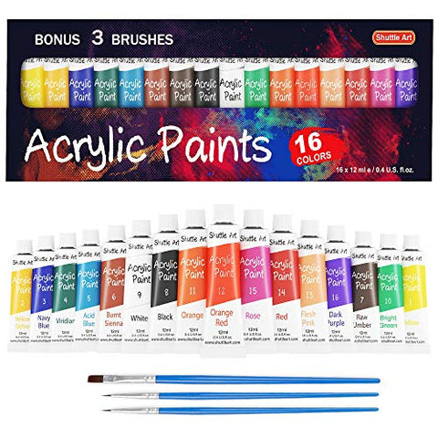 Acrylic Paint Set 16x 12ml Tubes Artist Quality Non Toxic Rich Pigments Colors Kids Adults Painting Canvas Wood Clay Fabric Ceramic Crafts