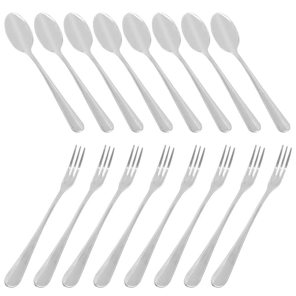 Set of 16 Demitasse Espresso Spoon (4 inch) and Stainless Steel Forks (4.8 inch), DaKuan Mini Coffee Spoons & Cake Forks for Dessert, Tea, Appetizer