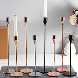 SUJUN Gold Candle Holders Set of 3 for Taper Candles, Decorative Candlestick Holder for Wedding, Dinning, Party, Fits 3/4 inch Thick Candle&Led Candles (Metal Candle Stand)