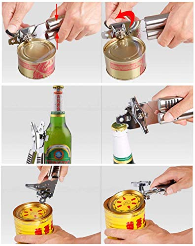 Hand Manual Can Openers,3-in-1 Stainless Steel Can Opener Manual Smooth Edge Arthritis, Hand Held Can Openers,Bottle Opener