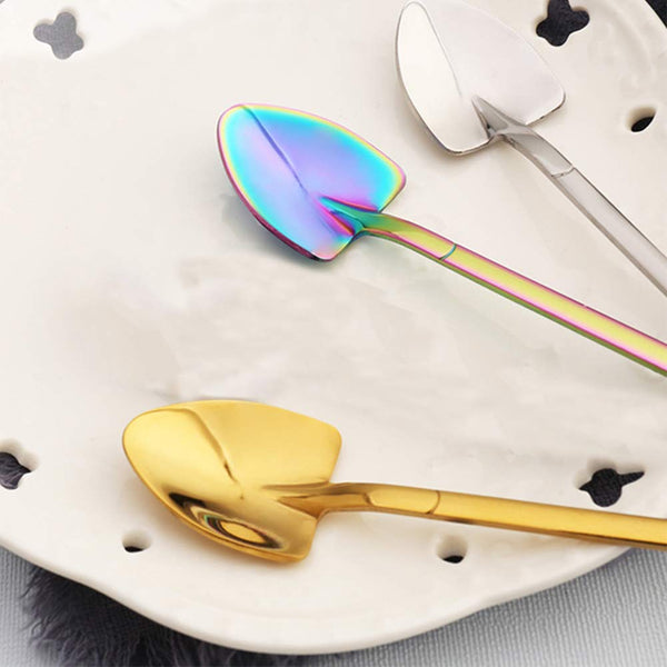 FanBell 6PCS Stainless Steel Tea Coffee Sugar Spoon Mini Shovel Shape Coffee Ice Cream Dessert Spoons (Colorful)