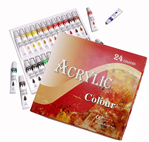 Acrylic Paint Set 24 Colors 12 ml Tubes Canvas Wood Ceramic Non Toxic Vibrant Colors Rich Pigments Lasting Quality Beginners Students Professional