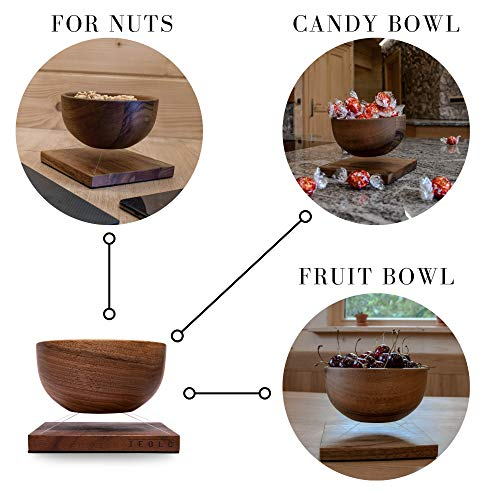 Levitating wooden walnut bowl, 5.5 inches Diameter, Candy Bowl, Fruit Bowl…